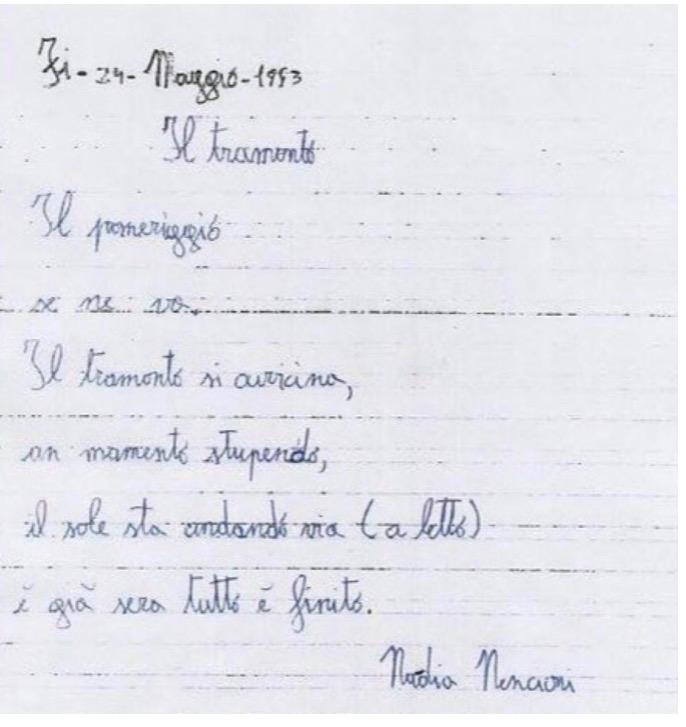 Il Tramonto  la poesia di Nadia