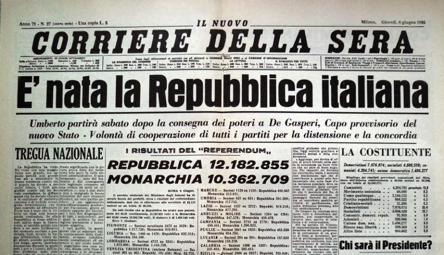 prima pagina Corriere nascita Repubblica